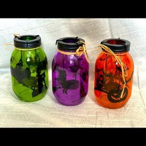 Halloween mason jar candle holders set of three
